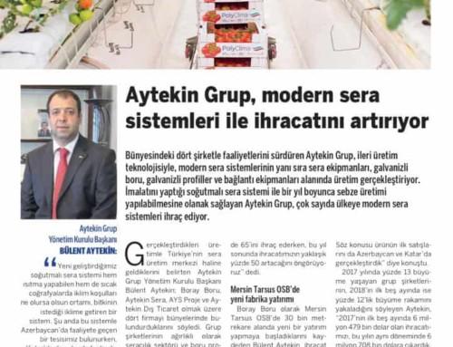 Aytekin Grup, modern sera sistemleri ile ihracatını artırıyor