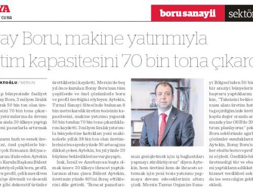 Boray Boru, makine yatırımıyla üretim kapasitesini 70 bin tona çıkardı