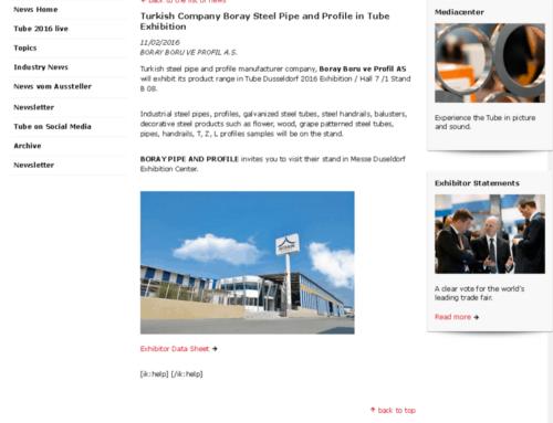 Boray Boru ve Profil A.Ş. Dusseldorf 2016 Boru Fuarına Katılacak